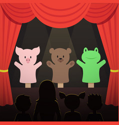 Childrens puppet theater performance with animals vector