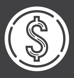 Coin dollar glyph icon business and finance vector