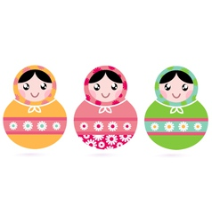 Cute floral colorful Matryoshka set vector image
