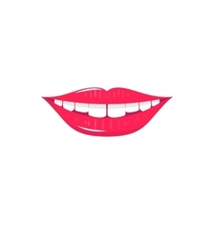 Flat laughing mouth with white teeth and red lips vector image