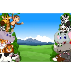 funny animal cartoon collection in the jungle vector image vector image