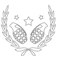 Grenades and stars in laurel wreath line-art vector