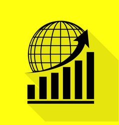 Growing graph with earth black icon with flat vector
