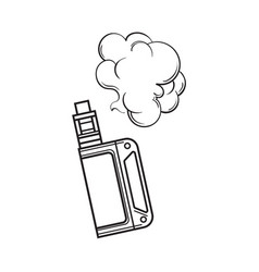 Hand drawn vape vaping device with smoke cloud vector