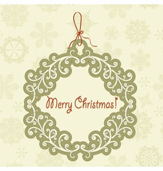 hanging frame with christmas greetings vector image vector image