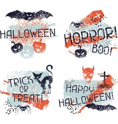 Happy Halloween prints with grunge texture vector image