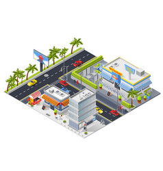 Isometric urban landscape with street restaurant vector