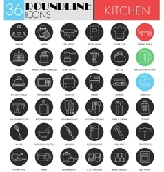 Kitchen tools circle white black icon set vector