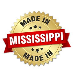 Made in mississippi gold badge with red ribbon vector