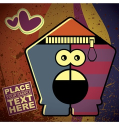 Monster on retro background vector image vector image