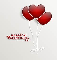 Red heart balloons for valentines day vector