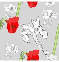 Seamless pattern with amaryllis and flowers-04 vector