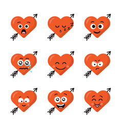 Set of different emoticons emoji heart faces with vector
