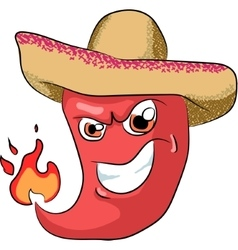 sharp chili pepper in a sombrero vector image vector image