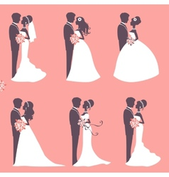 Six wedding couples vector image vector image