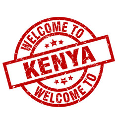 Welcome to kenya red stamp vector