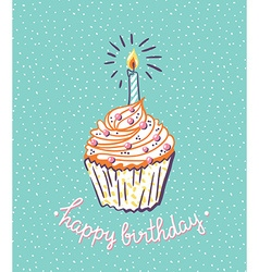 Birthday cupcake with candle bright poster with vector