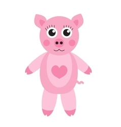 Cute cartoon pig character Children s toy pig on vector image