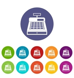 Cash register set icons vector