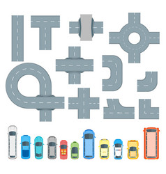 Road element and cars set top view vector