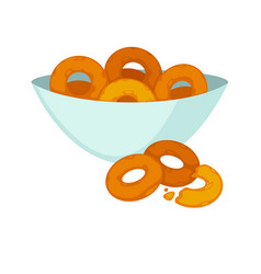 round crispy bagels in deep plate isolated on vector image