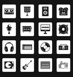 Recording studio items icons set squares vector