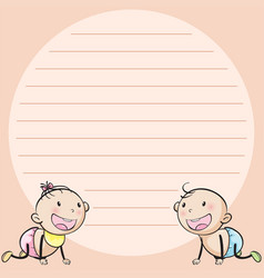 Line paper template with two infants vector