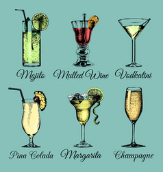 cocktails and glasses hand sketched alcoholic vector image