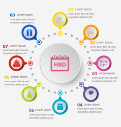 Infographic template with birthday icons vector