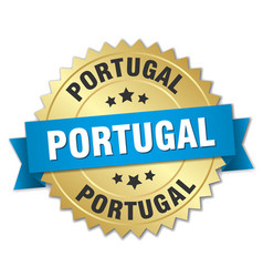 Portugal round golden badge with blue ribbon vector
