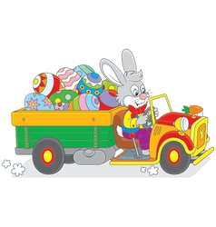 Bunny carries Ester eggs vector image