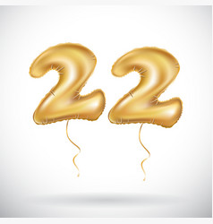 22 anniversary celebration with brilliant gold vector image