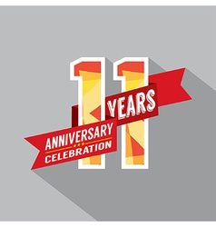 11th years anniversary celebration design vector