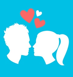 Profiles of man and woman vector image
