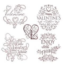 Valentines day set calligraphic design elements vector