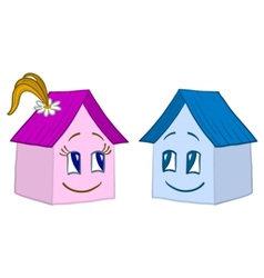 Houses girl and boy contours vector