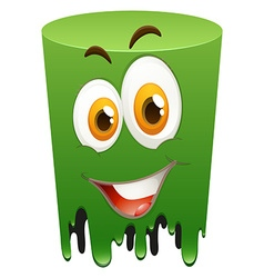Happy face on green tube vector
