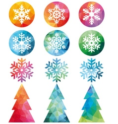 Polygonal christmas set vector