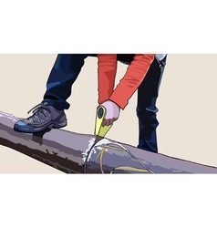 Man sawing tool tree trunk vector
