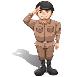 A brave soldier doing a hand salute vector