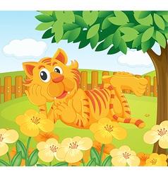 A tiger in the fenced garden vector