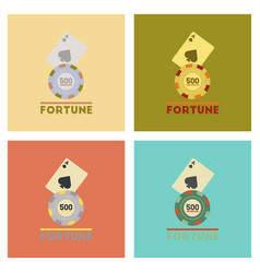 Assembly flat icons poker fortune chip card vector