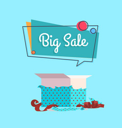 Big sale open gift box in dotted wrapping paper vector