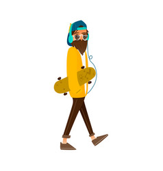 Cartoon hipster man holding skateboard vector