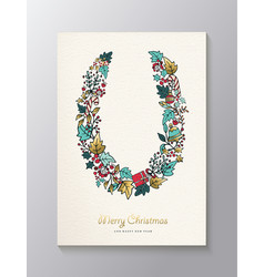 christmas and new year gold nature wreath card vector image vector image