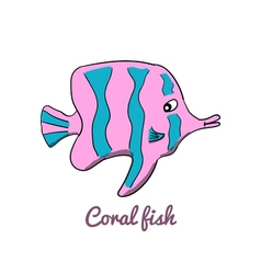 Cute cartoon coral fish vector
