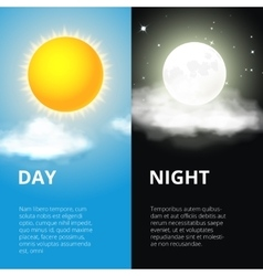 Day and night sun moon vector image