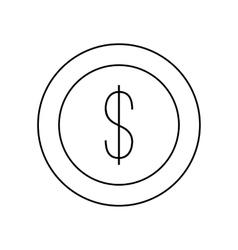 Dollar coin line icon vector