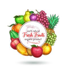 Exotic fresh natural fruits poster vector