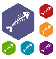 Fish bone icons set vector image vector image